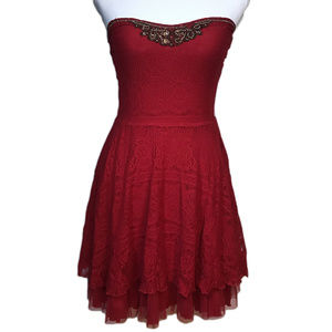 FREE PEOPLE Lace Embellished Beads Strapless Dress